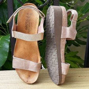 25c15069dccc Naot Shoes - Naot Lisa Sandals 40 Cork Wedge Ankle Strap